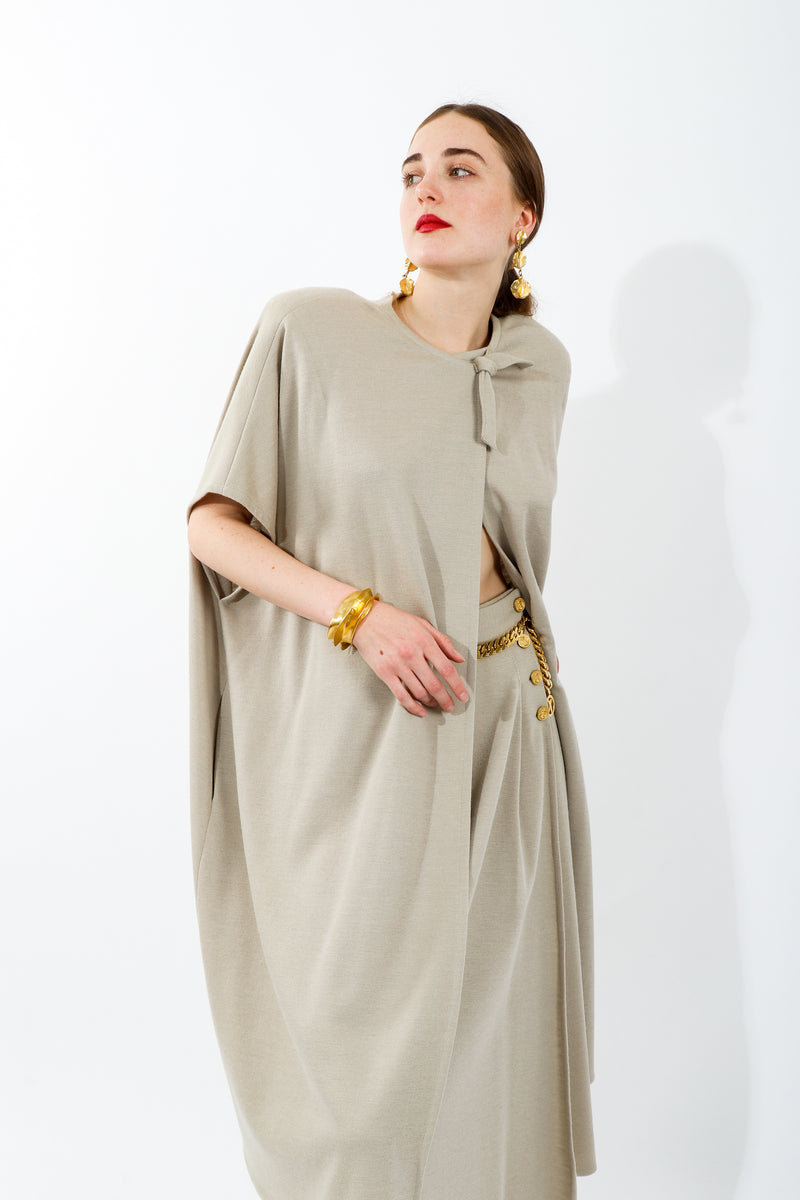 Girl wearing Vintage Sonia Rykiel Sand Beige Knit Cape & Skirt Set