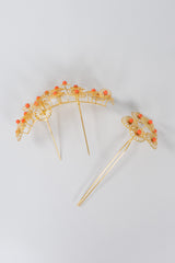 Japanese Vintage Flower Crown Headpiece & Hairpin Set