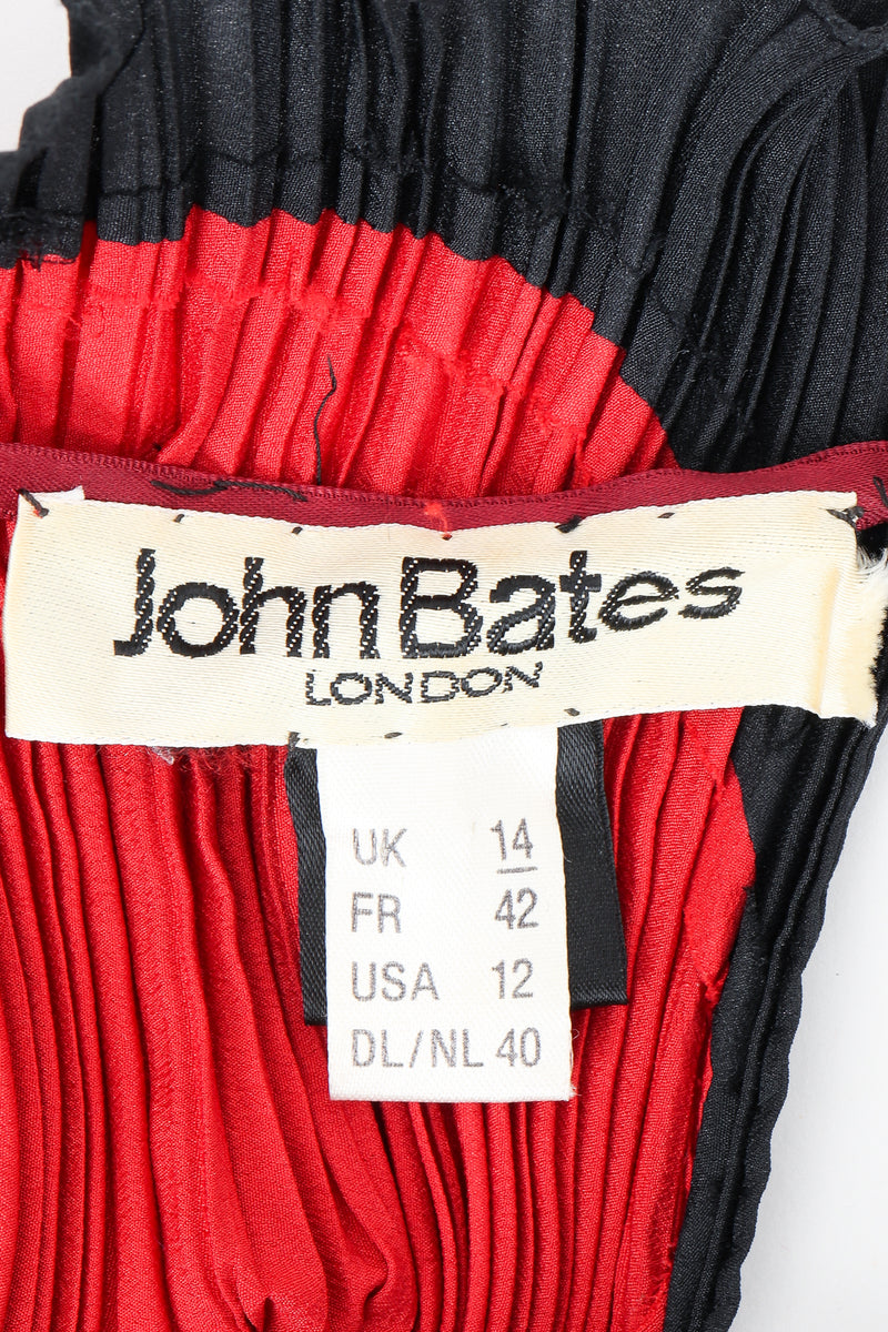 Vintage John Bates Pleated Graphic Print Dress Label at Recess