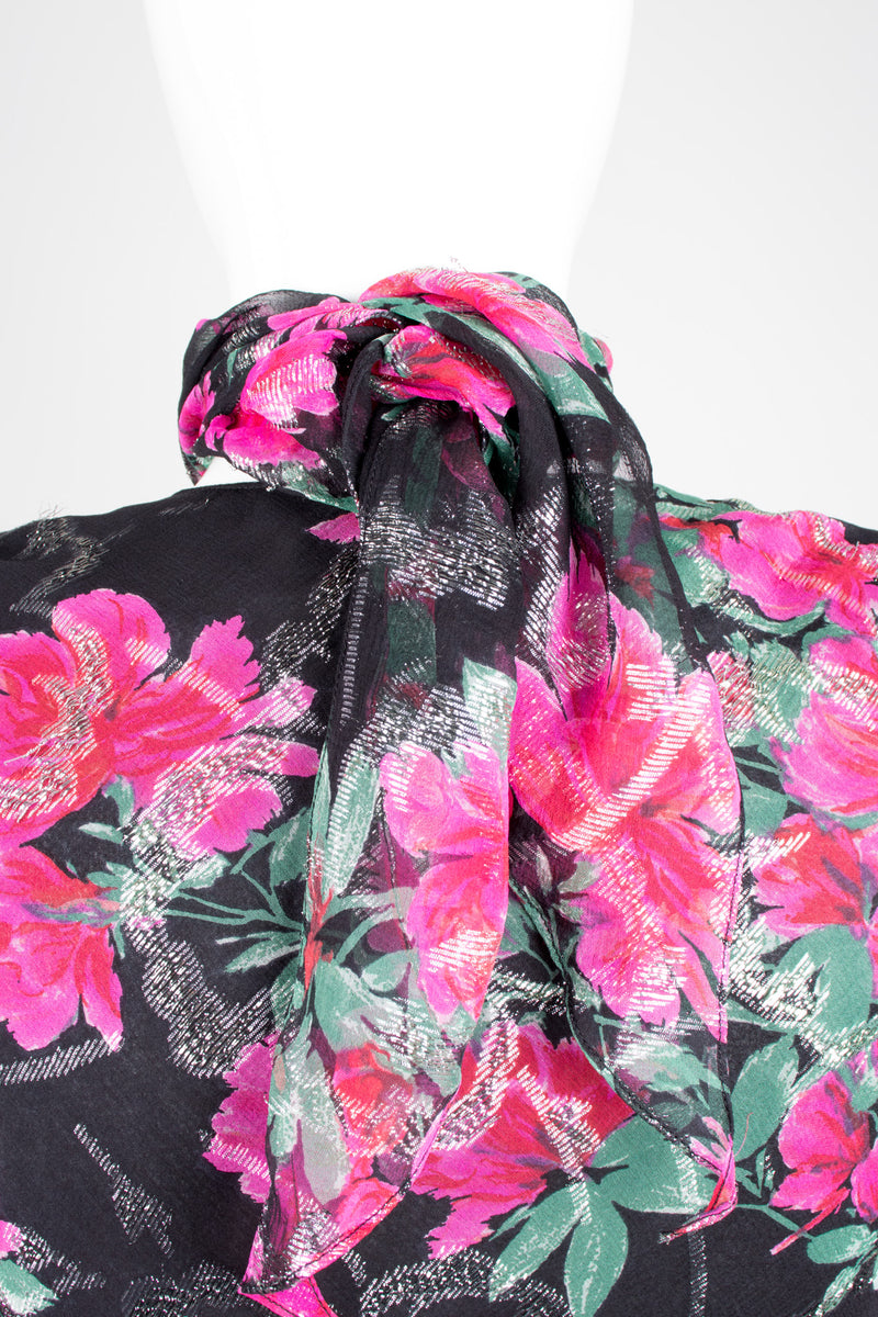 Judy Hornby Bias Cut Chiffon Floral Choker Scarf Neck Dress