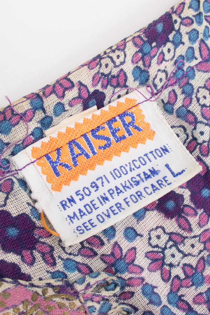 Kaiser Vintage Cotton Gauze Printed Peasant Dress