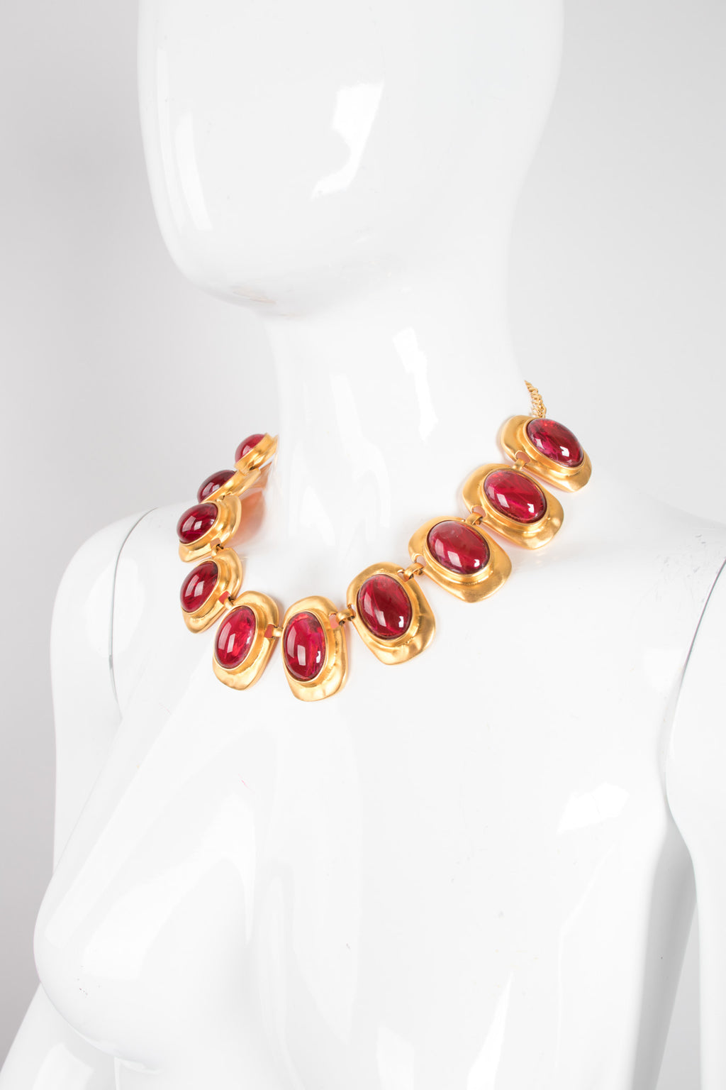 Kenneth Jay Lane Polished Glass Cabochon Collar Necklace