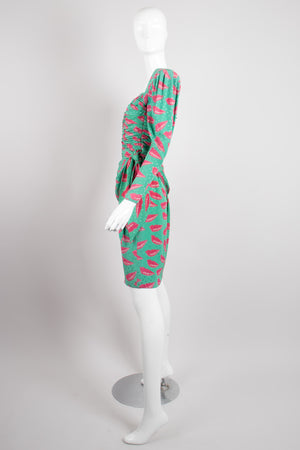 Emanuel Ungaro Parallèle Ruched Lip Print Dress