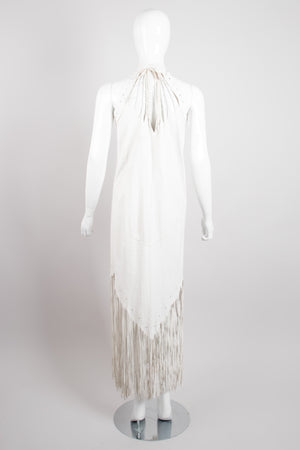 Design By Mandana Beaded Leather Fringe Halter Dress