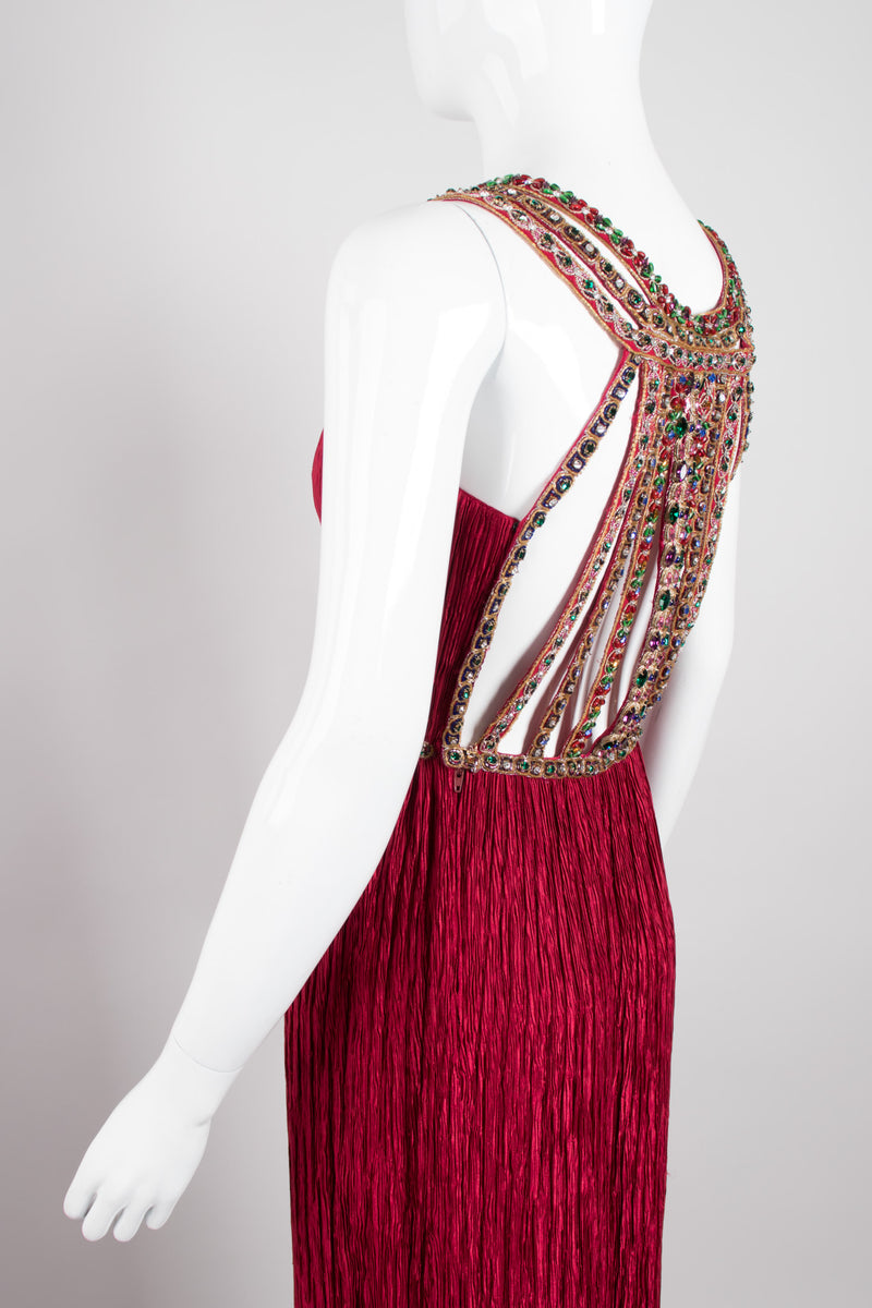 Mary McFadden Pleated Jeweled Back Dress GoT Game Of Thrones Cersei Red Wedding