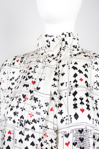 Salvatore Ferragamo Vintage Decked Out Playing Card Silk Shirt