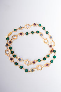 William de Lillo Long Crystal Flower Gem Necklace