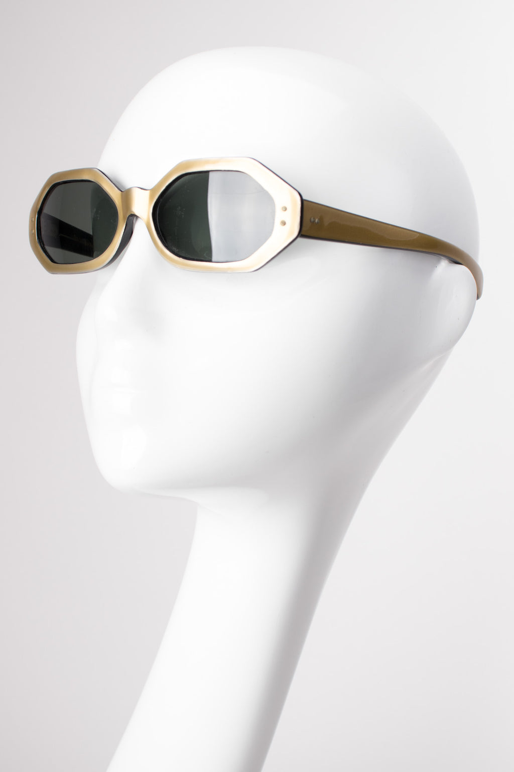 Omura France Octagonal Matte Gold Sunglasses