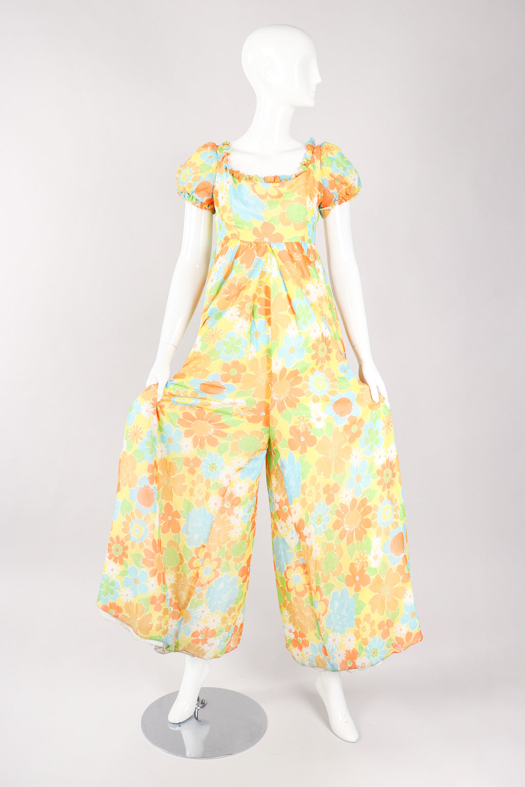 Recess Los Angeles Vintage Yellow Floral Chiffon Wide Leg Jumpsuit