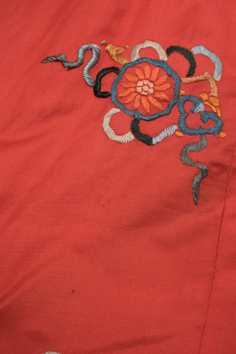 Vintage Coral Chinese Dragon Carp Embroidered Jacket