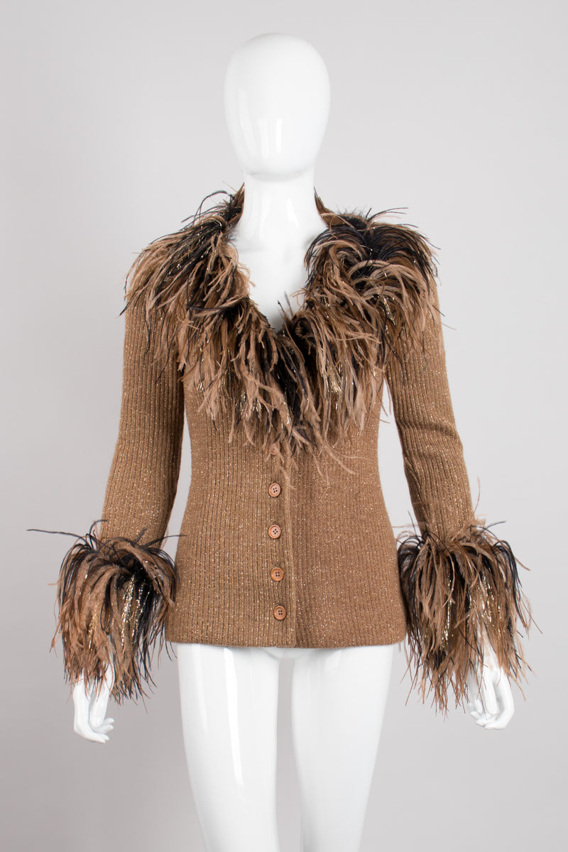 Bill Blass 90s Lion Mane Ostrich Feather Knit Jacket Clueless