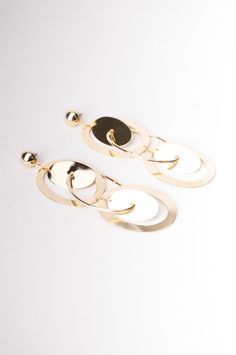 Oval Orbit Drop Earrings