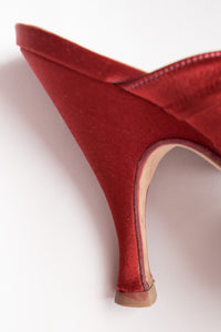 Peter Fox Knot Red Satin Almond Toe Heeled Mules
