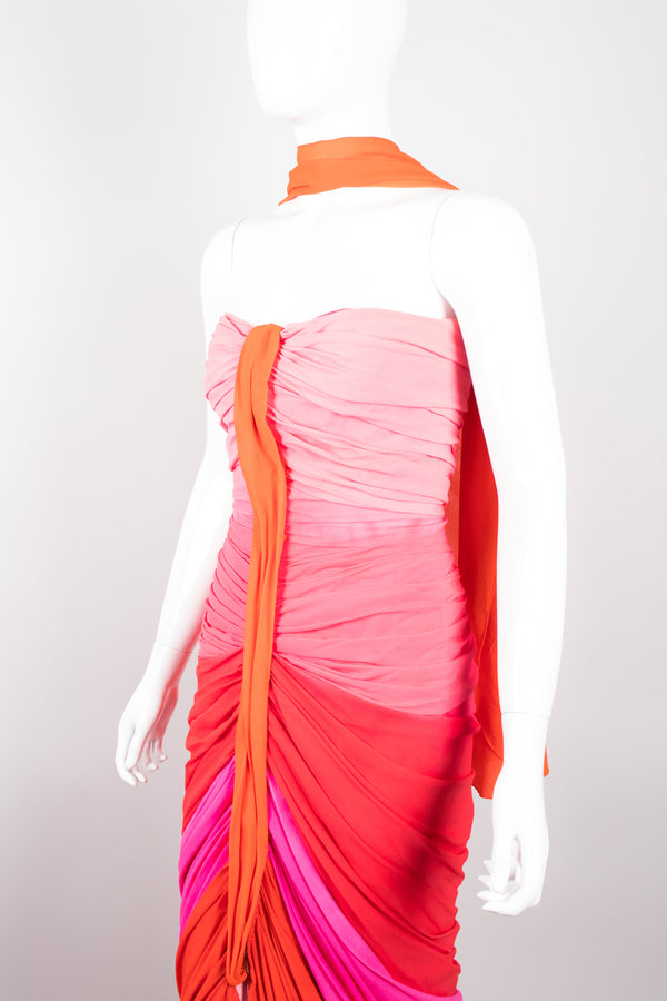 Vintage Silk Chiffon Strawberry Shortcake Ombre Ruched Gown & Shawl