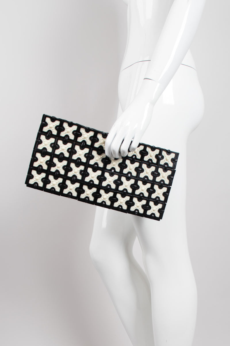 Plastic cross Tile Vintage Clutch Purse 1940s 1950s