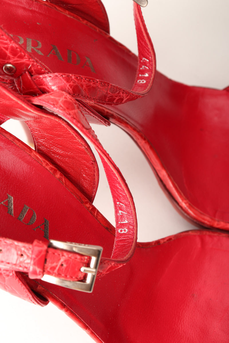 Prada Red Ankle Strap Crocodile Leather Heels