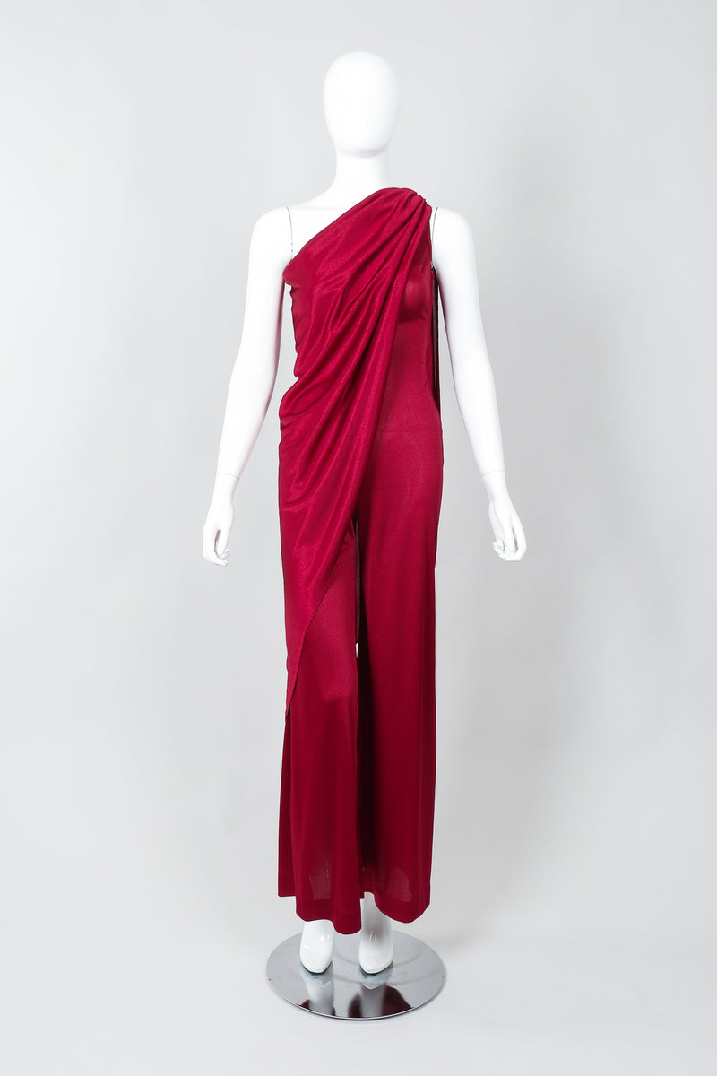 Vintage Frederick's of Hollywood Cranberry Draped Jersey Jumpsuit on Mannequin Frontat Recess