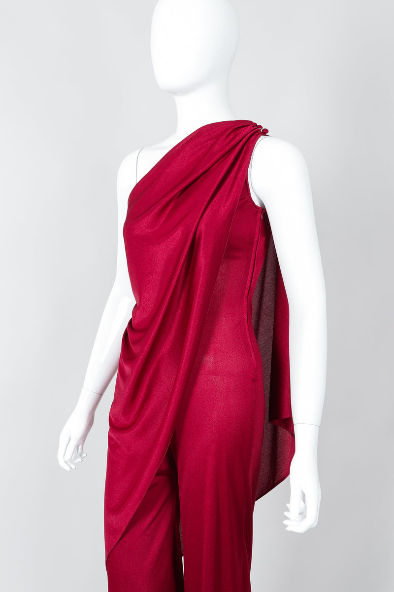 Vintage Frederick's of Hollywood Cranberry Draped Jersey Jumpsuit on Mannequin Angled at Recess