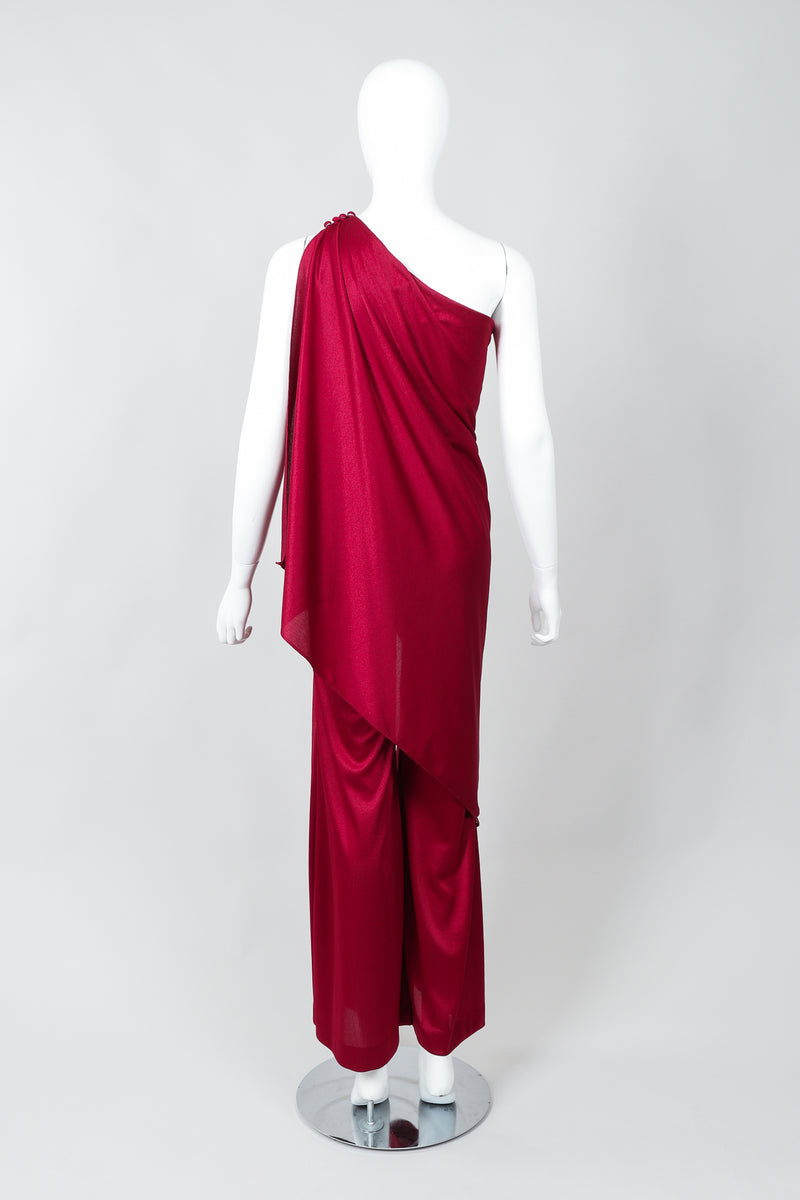 Vintage Frederick's of Hollywood Cranberry Draped Jersey Jumpsuit on Mannequin Back at Recess