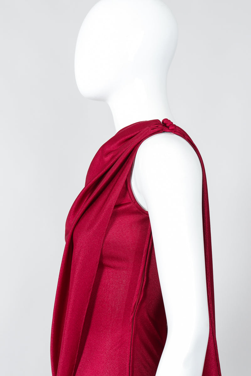 Vintage Frederick's of Hollywood Cranberry Draped Jersey Jumpsuit on Mannequin SHoulder at Recess
