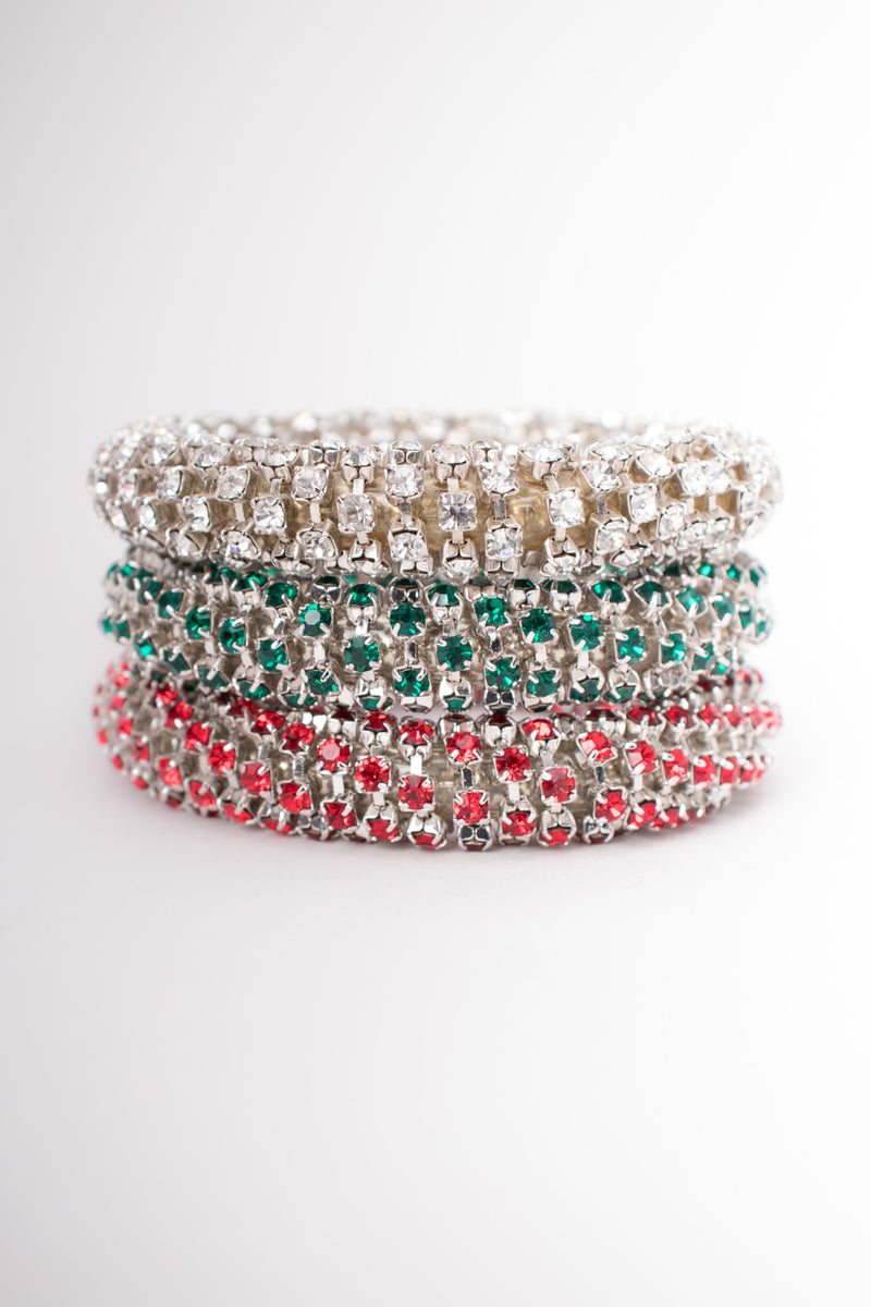 Tricolor Rhinestone Bangle Bracelet Set