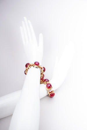 Vintage 60s Maraschino Cherry Polished Glass Stone Bracelet