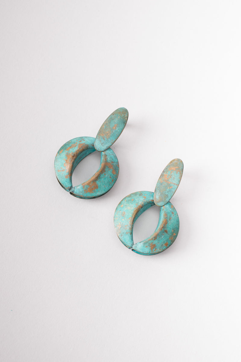 Patina Fortune Oval Link Collar Necklace & Earring Set