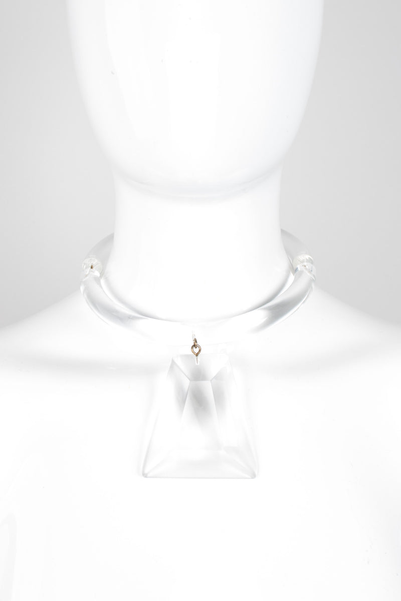 Judith Hendler Vintage Acrylic Lucite Prism Pendant Collar