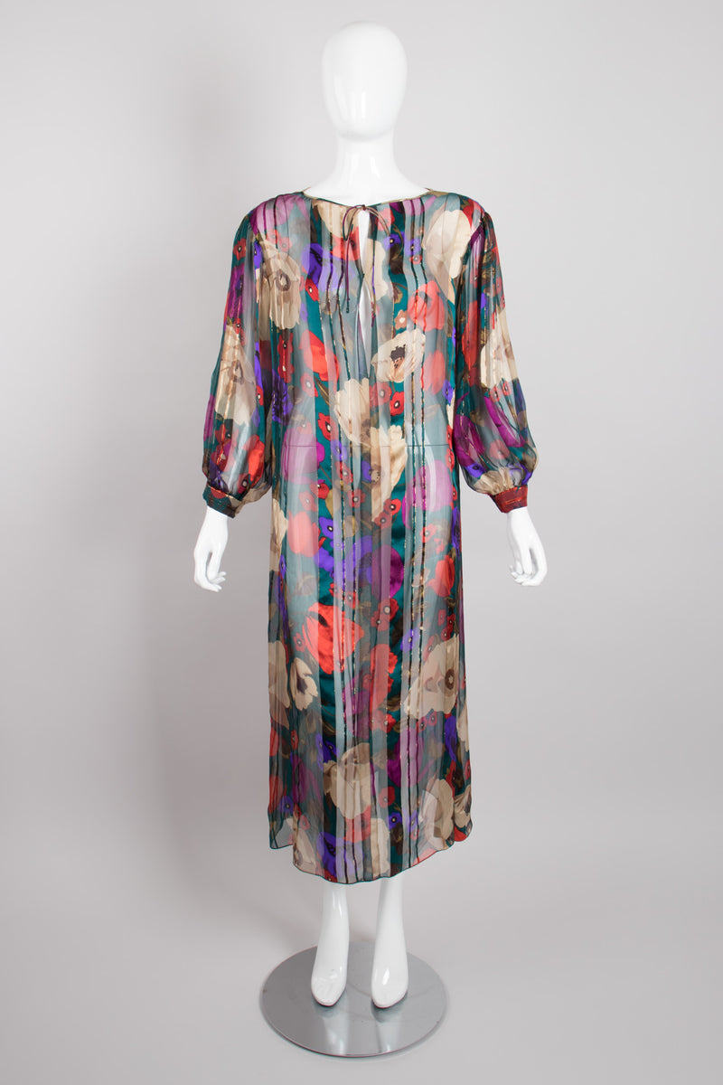 Sheer Silk Chiffon Gold Lamé Floral Poppy Print Dress