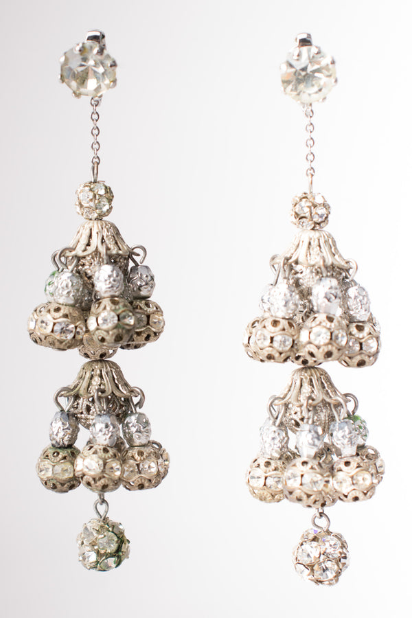 Vintage Filigree Bead Crystal Silver Chandelier Earrings