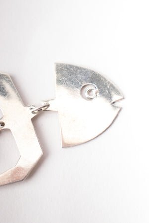 Mexican 950 Silver Fishbone Earrings