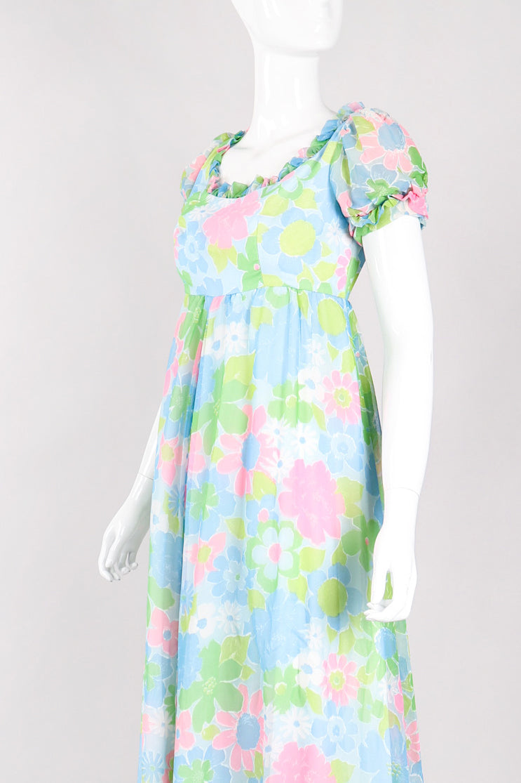 Recess Los Angeles Vintage Neon Blue Floral Chiffon Wide Leg Jumpsuit