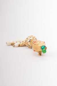 Vintage Beaded Rattler Snake Serpent Tassel Brooch