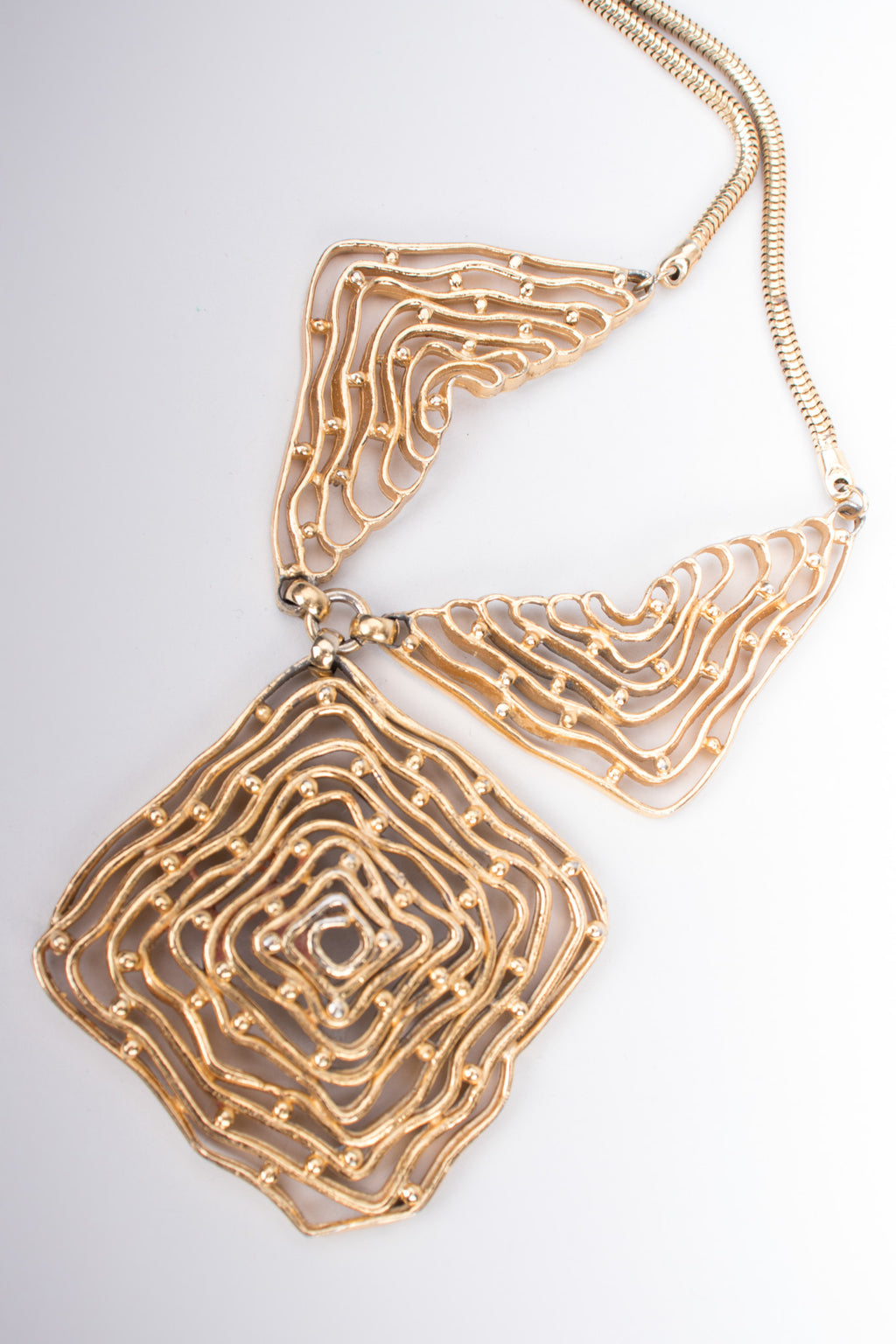 Napier Vintage Brutalist Maze Collar Point Pendant Necklace