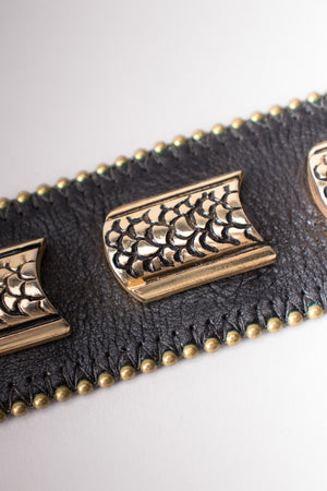 Streets Ahead Vintage 90s Leather Metal Snake Belt