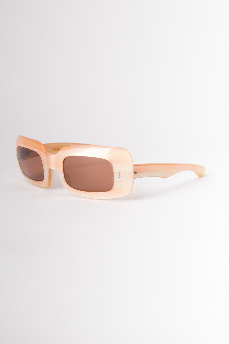 Retro Rectangle Peachy Pink Mother of Pearl Sunglasses