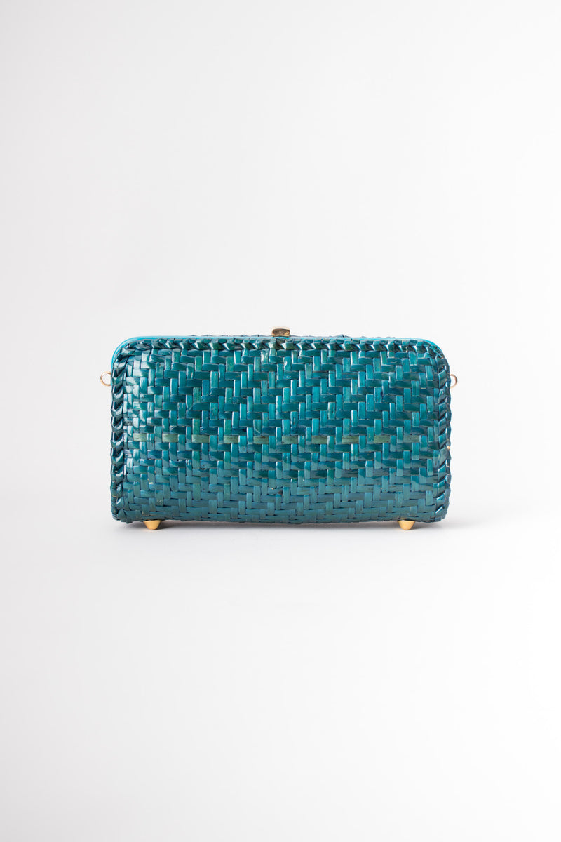 Aldo D'Oro Italy Teal Wicker Shoulder Bag