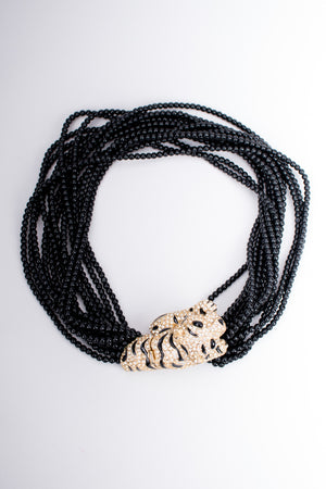 Ciner Beaded Crouching Tiger Collar Choker Necklace