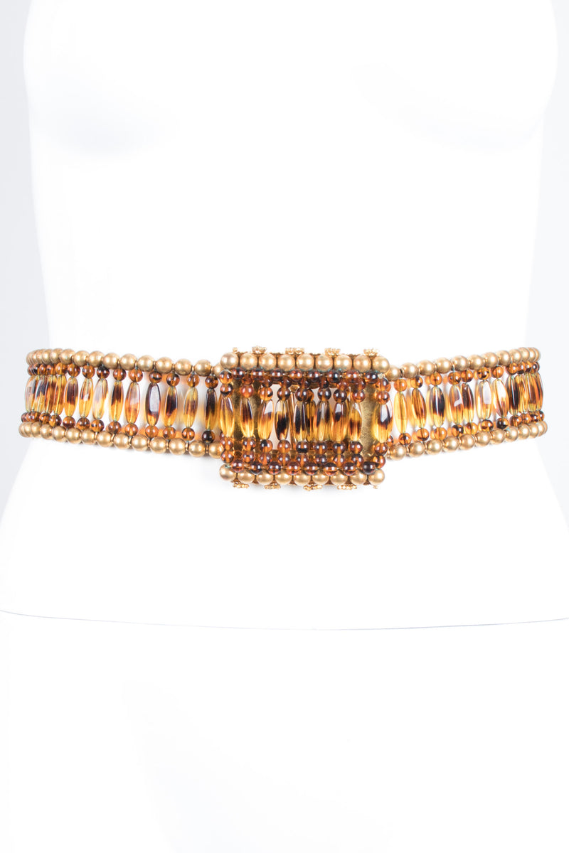 William de Lillo Vintage Glass Tortoiseshell Bead Belt