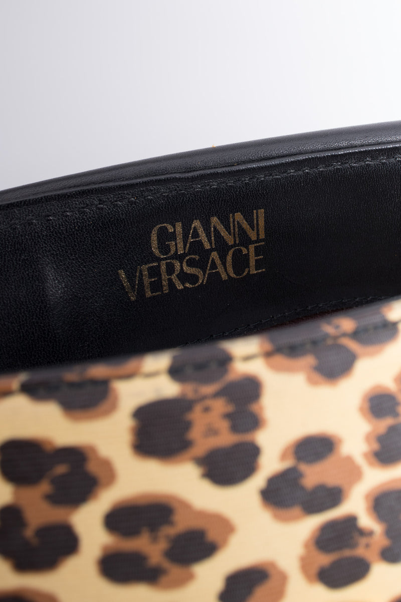 Gianni Versace Baroque Wild Flower Leopard Print Leather PVC Doctor Bag