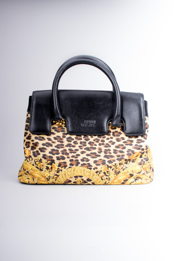 Gianni Versace Baroque Wild Flower Leopard Print Leather PVC Doctor Birkin Bag