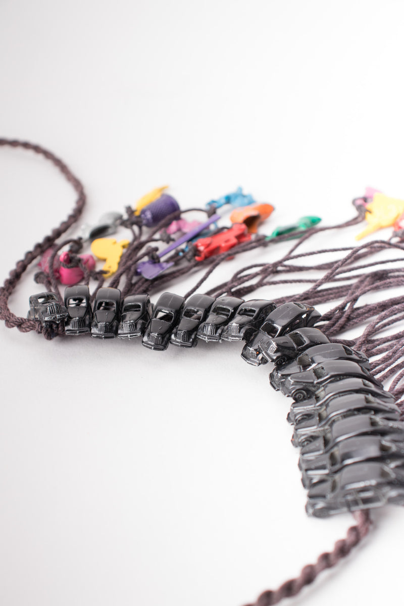 Miniature Vintage Metal Toy Rainbow Waterfall Bib Necklace
