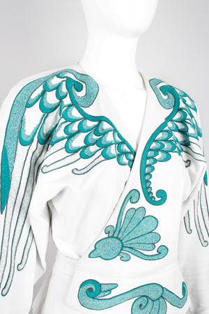Jean Claude Jitrois Leather Wrap Embroidered Wing Jacket