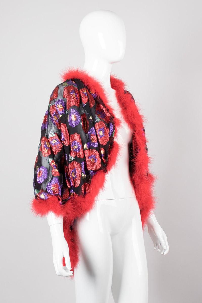 Saint Laurent Rive Gauche YSL Sheer Metallic Lamé Marabou Cocoon Bedroom Jacket