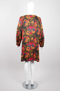 Yves Saint Laurent YSL Silk Mongolian Print Dress