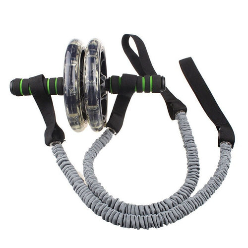 1 Pair Pull Elastic Gym Sports Fitness Practical Rope Roller Wheel Stretch Abdominal Slimming Durable Accessories Exercise