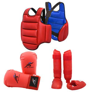 Karate Uniform Leg Guard Martial Arts Boxing Gloves Equipment MMA training Taekwondo Dobok Sparring Gear Set Chest Body Protect