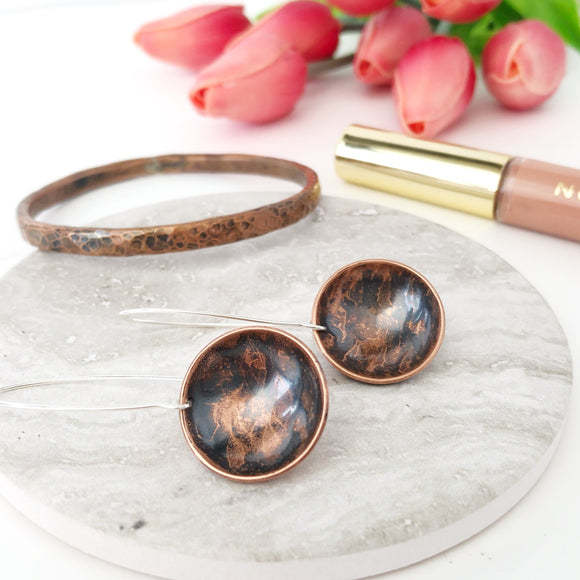 Handmade Copper Earrings with Sterling Silver Hooks