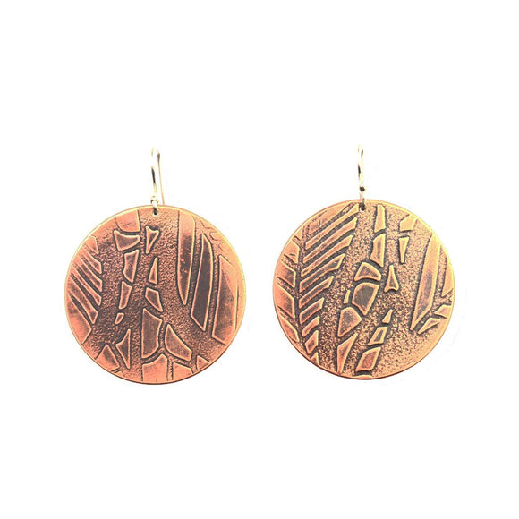 Leaf Pattern Large Circle Copper Earrings