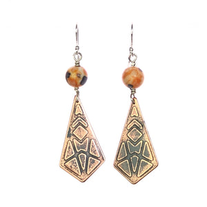 Art Deco Copper Diamond Earrings with Hand Painted Porcelain Bead